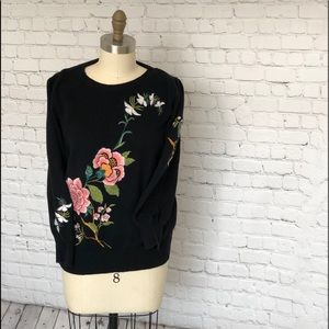 LOFT Embroidered 3/4 length sleeve sweater